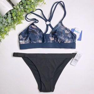 NWT Roxy/Pacsun Black & Blue Bikini - Size S